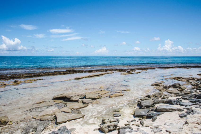 Rocks on busy Johnny Cay San Andres Colombia   VIP boat tour island travel guide