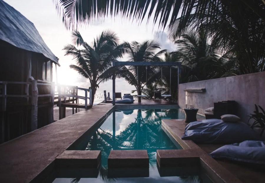 Where to stay in Tulum zona hotelera Tulum hotel zone Posada Lamar beachfront boutique hot tub in room