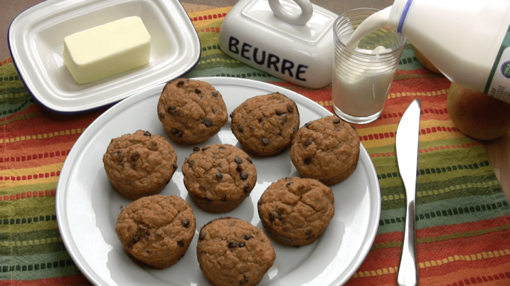baked muffins and milk
