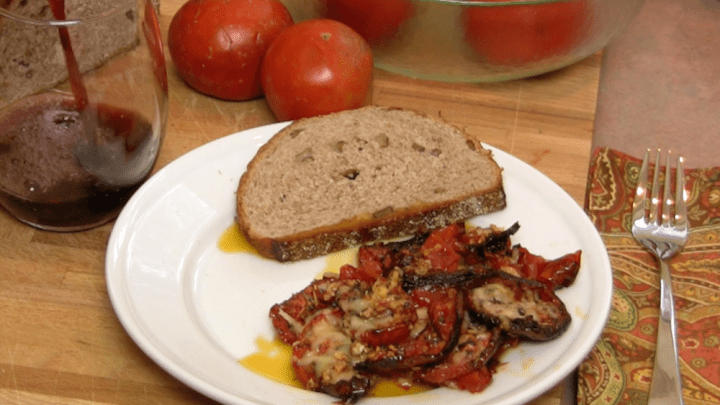 plated roasted tomatoes