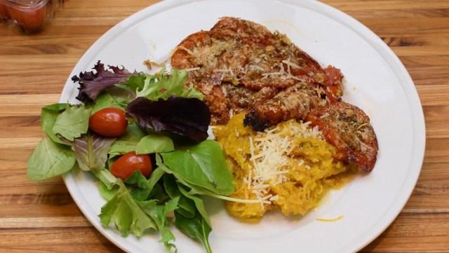 plated spaghetti squash