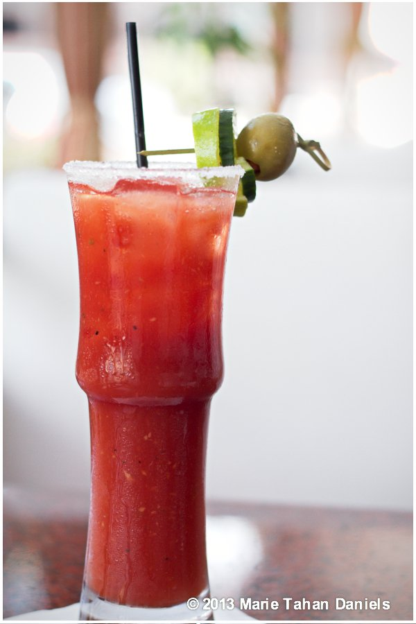 This Bloody Mary's got a spicy bite that hits the spot with the house made chunky mix.