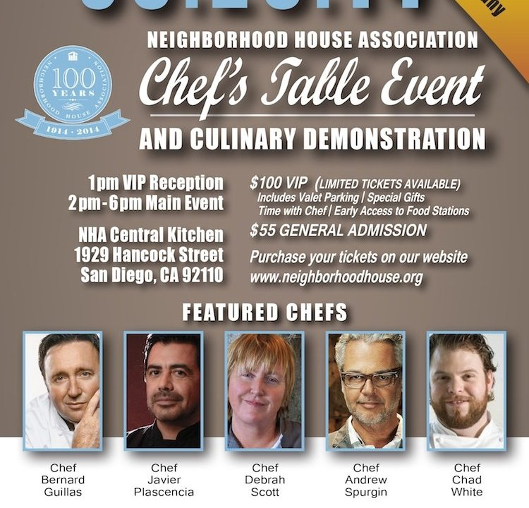 Chef Table Dinner for Neighborhood House Association, charity, san diego, giving scene, Cur8eur ONLINE
