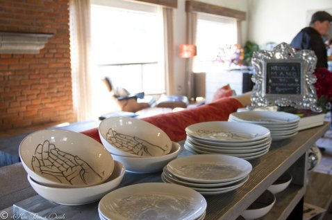 Hand painted plates and bowls from artist Gennaro Garcia.
