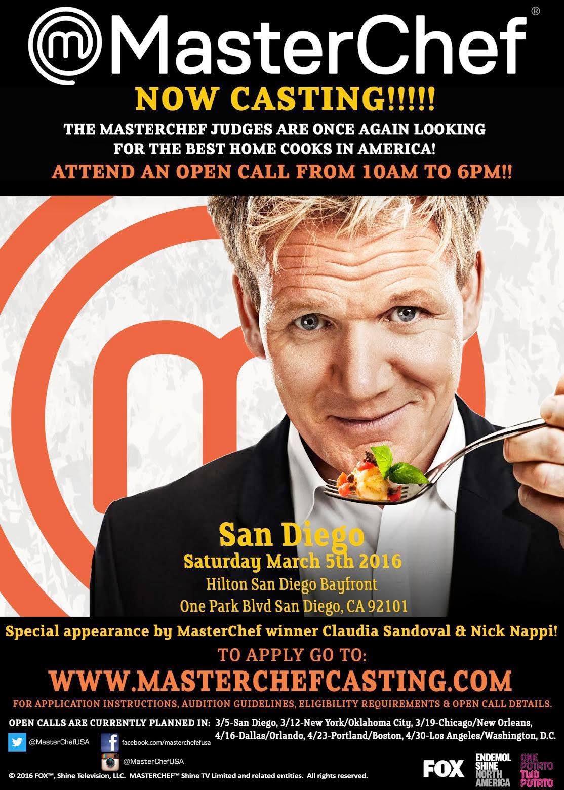 MasterChef Casting Call, San Diego, Home Cooks, chefs
