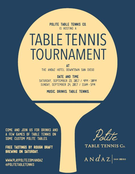 Table Tennis Tournament at Andaz Hotel Downtown San Diego