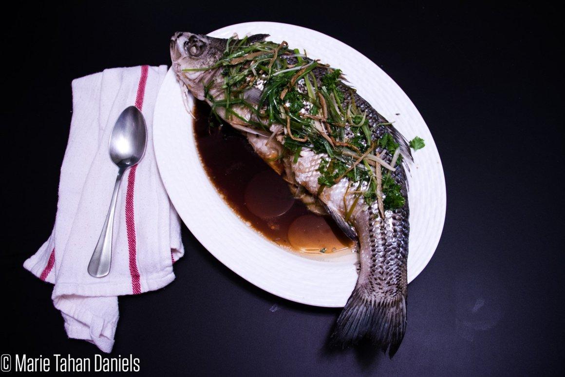 Whole Steamed Fish Recipe, Sea Bass Recipe, cur8eur eats, marie daniels, a gal and her fork, cur8eur, san diego, baja