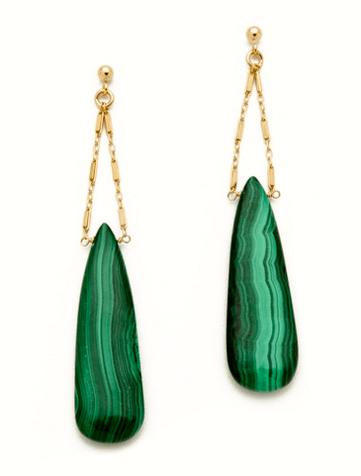 Green Gemstone Drop Earrings