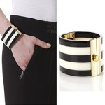 Modern Malene Birger Cuff Striped Bracelet Black & White £80 FREE GLOBAL SHIPPING