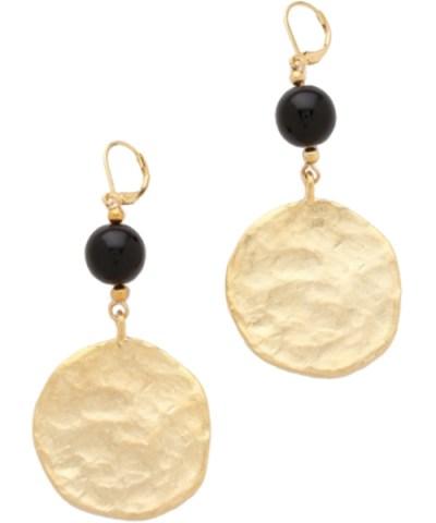 Kenneth Jay Lane Gold Coin Drop Earrings