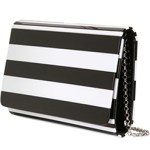 Lulu Guinness Black + White Striped Clutch Bag $303 FREE GLOBAL SHIPPING