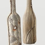 Unique Ceramic Artists Akira Satake Ceramics Woodgrain Bottle $198