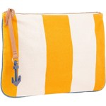 Chic Malene Birger Striped Clutch Bag Yellow & White $83 FREE SHIPPING