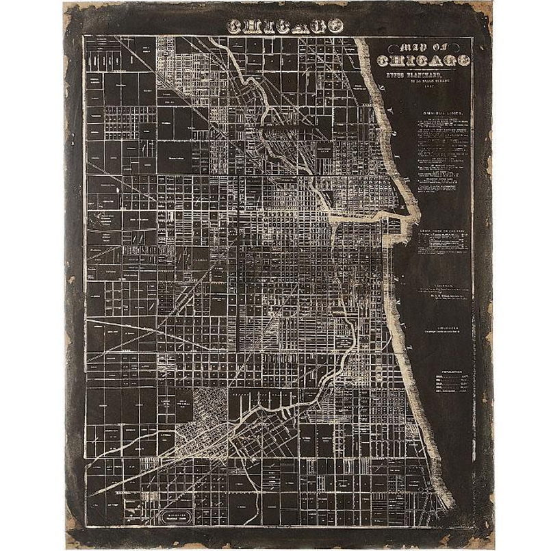 Ideal Map Of Chicago Wall Art