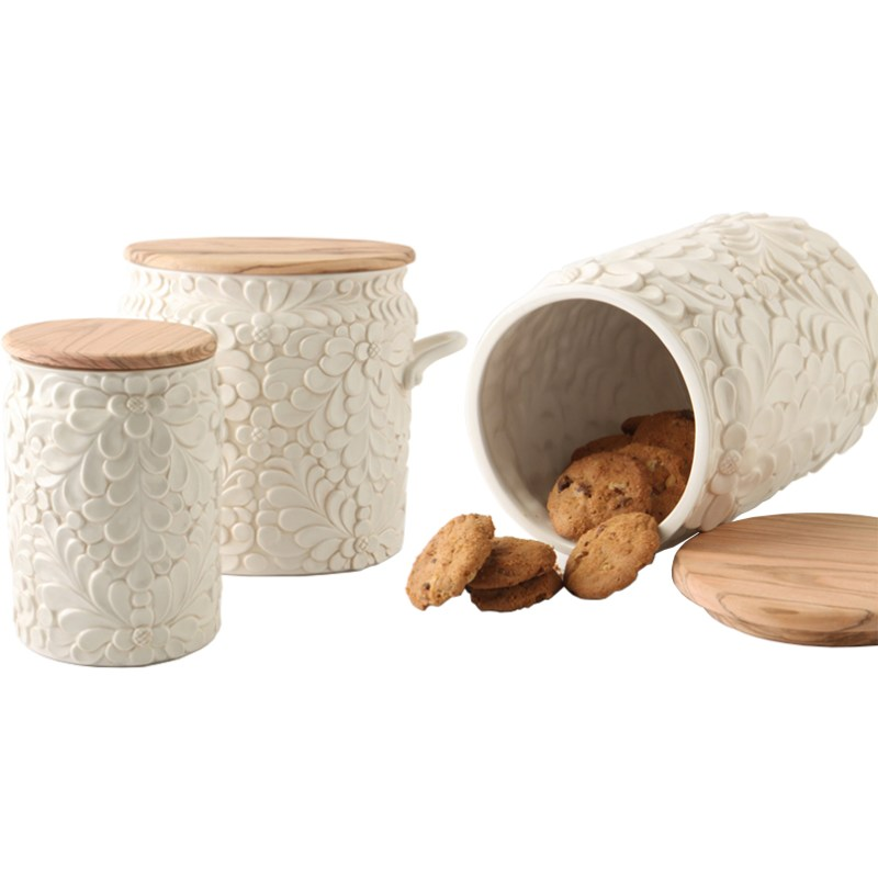 Italian Rustic Decor Gorgeous Flower Canister