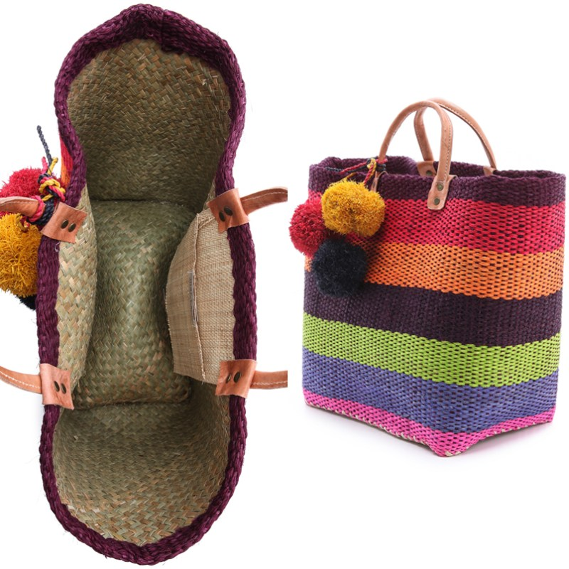 Fair Trade Bags Bright Hand Woven Straw Baskets