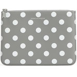 Comme Des Garcons Leather Pouch In Gray Polka Dots
