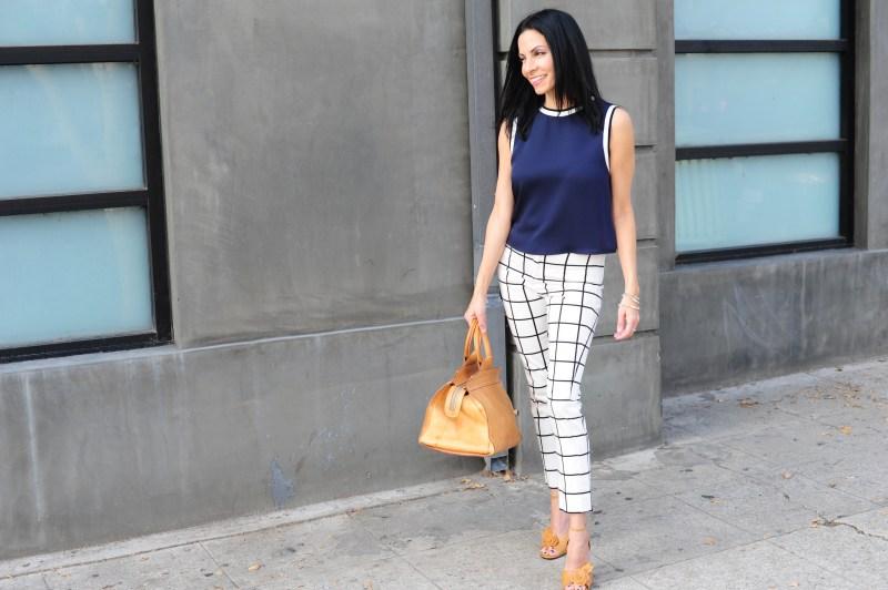 Spring Fashion Ideas - Theory Top - Mango Check Pants