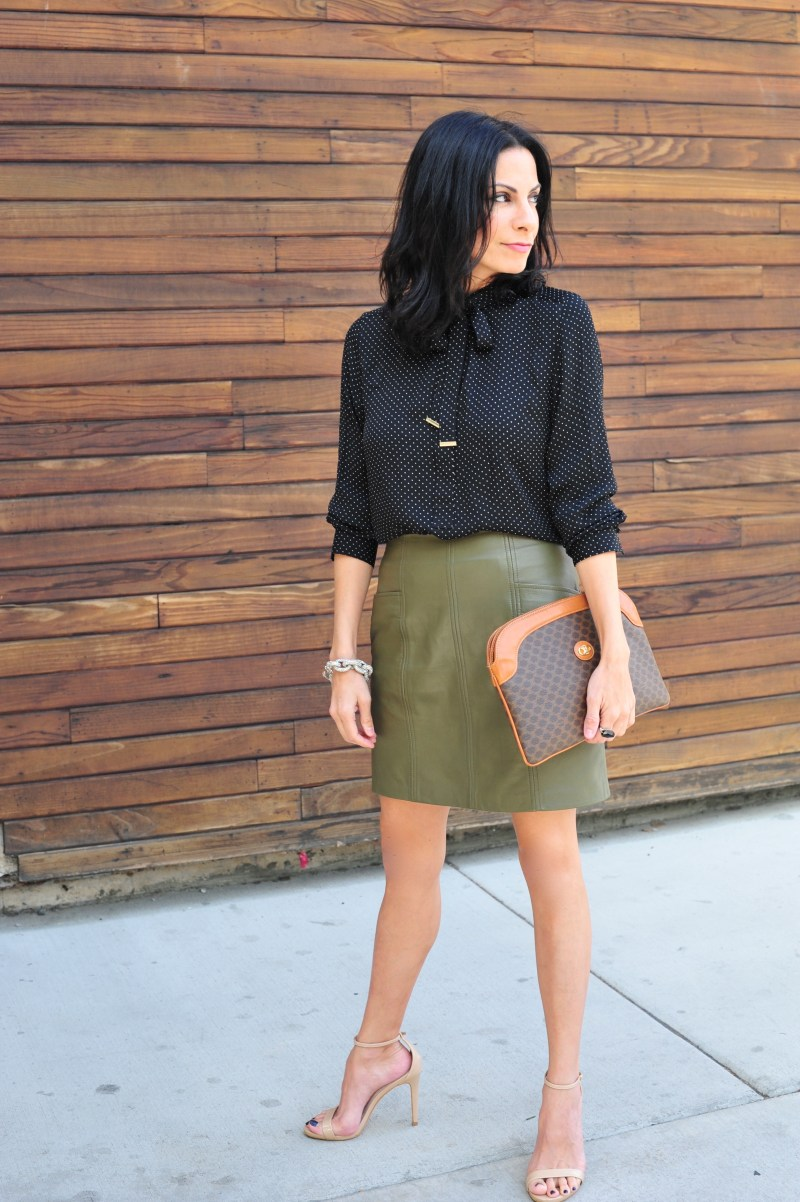 The Whole Package Polka Dot Blouse - Green Leather Mini Skirt