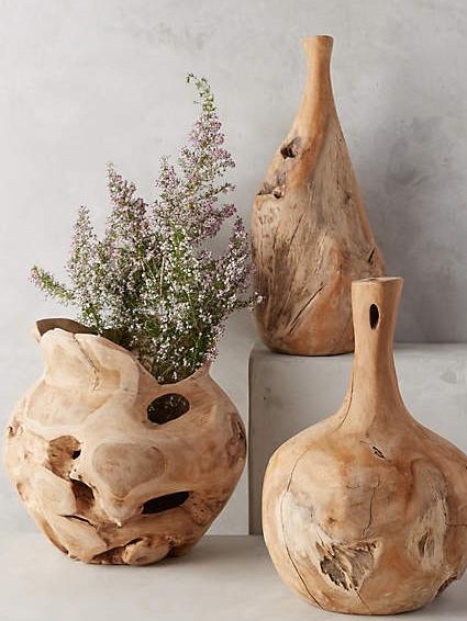 Teak Wooden Bottle Vase