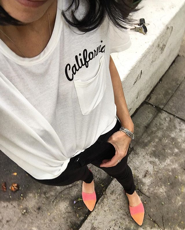 Romwe California Embroidered Pocket Tees