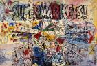Sigmar Polke, Supermarkets, gouache, metallic enamel, acrylic paints, felt-tip pen and collage on nine sheets of paper on canvas, 1976.