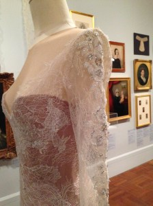 Detail of white Lace dress by Paul Vasileff and Paolo Sebastian