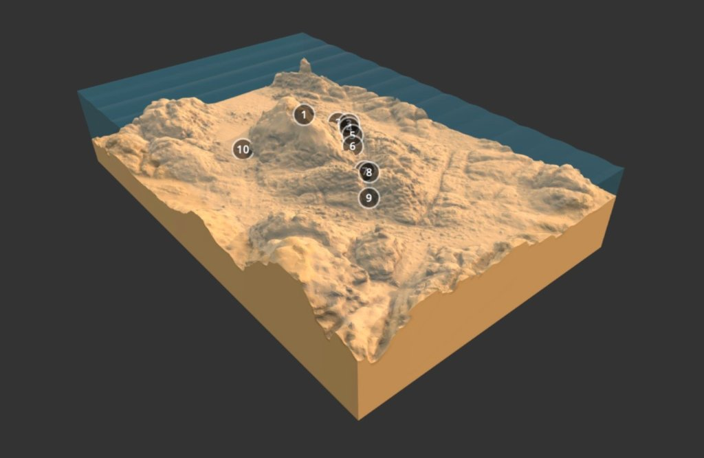 Screen capture of a 3D underwater landscape with numbers showing the locations of cannons. An entirely novel way of interpreting shipwreck remains on the seabed inspired by Minecraft. Created by Tom Goskar for CISMAS on behalf of Historic England.