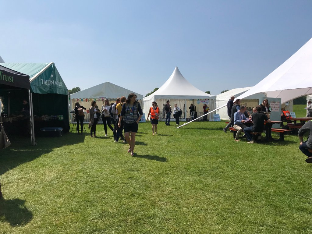 Photograph of the National Trust 2018 Convestival showing tents and marquees at Calke Abbey, near Derby, UK.