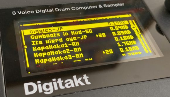 Sample listing on the Digitakt