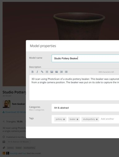 Screenshot of the metadata input Sketchfab. A web form is overlaid upon a dimmed version of the Sketchfab model page.