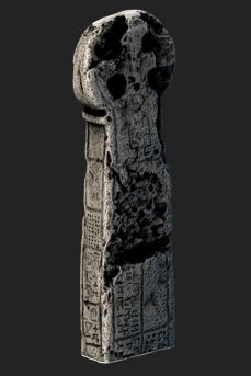 3D scan of Penzance Market Cross. Early medieval decorations and inscriptions are almost invisible to the naked eye. Here, 3D techniques enhance the hidden details to help interpret the monument.