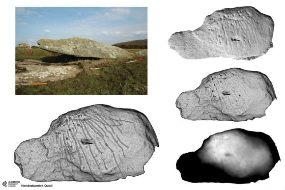 Composite image showing examples of digital filtering methods used to enhance the rock art at Hendraburnick Quoit, Cornwall.