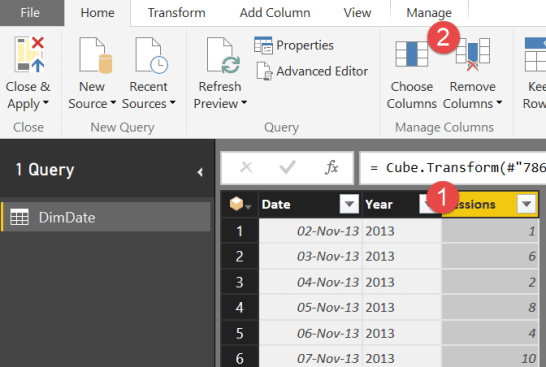remove a column power bi