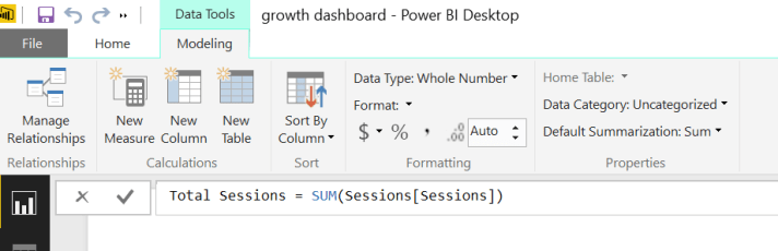 total sessions power bi google analytics