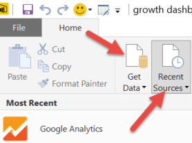 Get data or recent sources Power BI