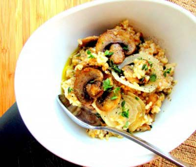 Savory Oatmeal with Sautéed Mushroom Onion & Thyme