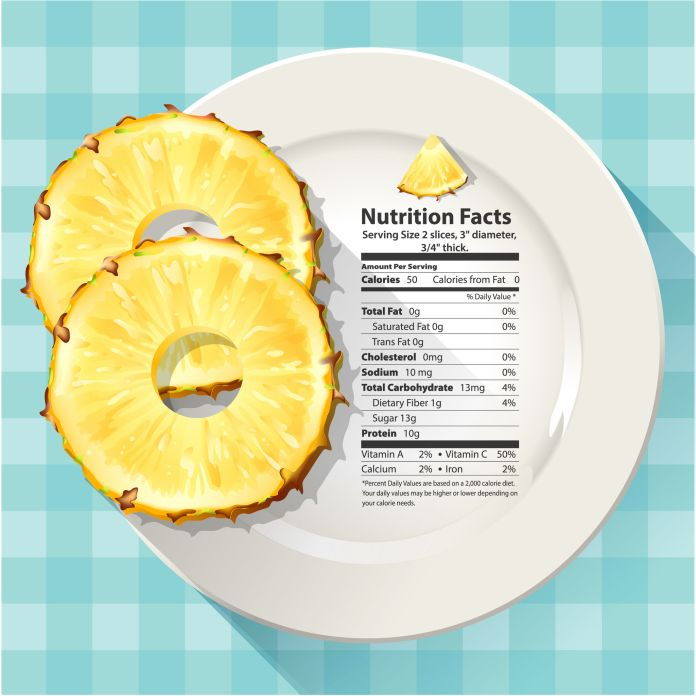 38743669 - vector of nutrition facts in pineapple on white plate