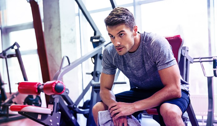 Man resting during strength training