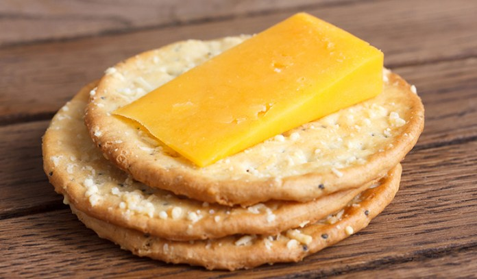 Cheese and whole grain crackers are a wholesome snack