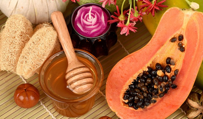 Honey and papaya paste is great for glowing skin