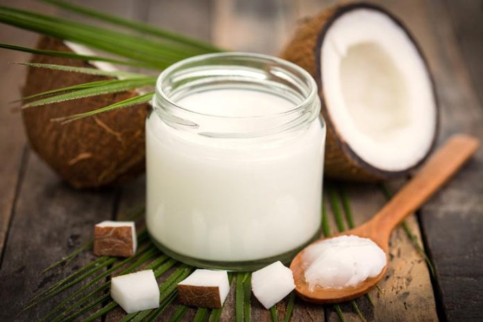 Coconut oil helps replace lipids in the skin.
