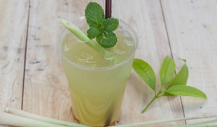 Lemongrass and mint water makes for a refreshing drink.