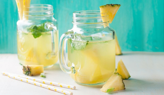 Pineapple and ginger water are rich in antioxidant vitamins
