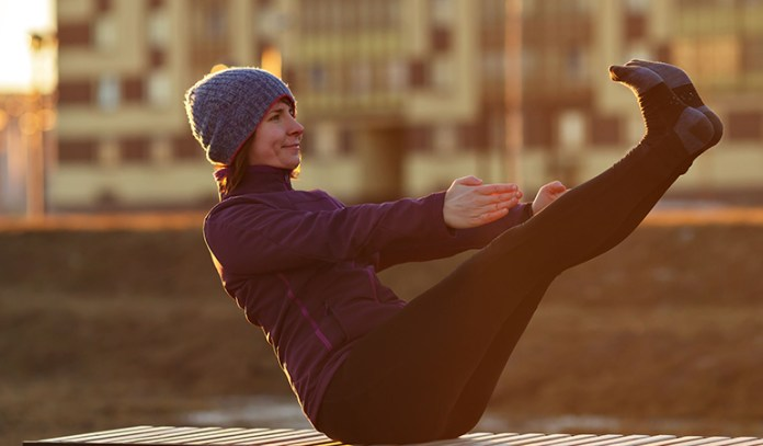 The boat pose requires a strong back and abdomen, which can cause back pain