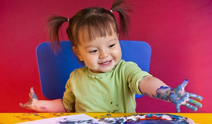 Finger painting helps your kid improve fine motor skills.