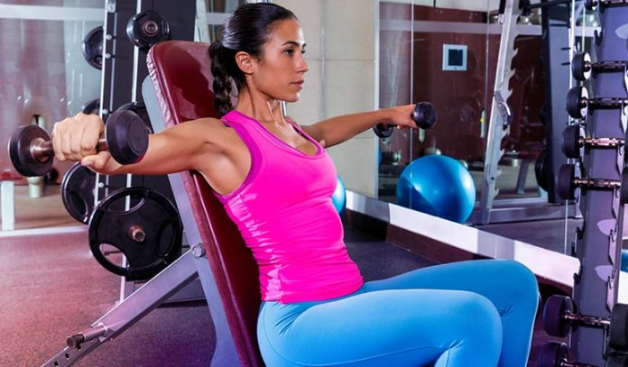 The inclines chest fly targets the back and strengthens and tones the shoulders.
