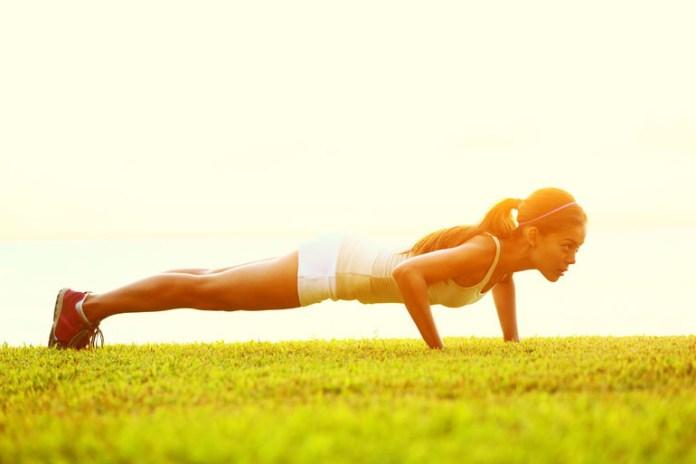 Walkout pushups target the core.