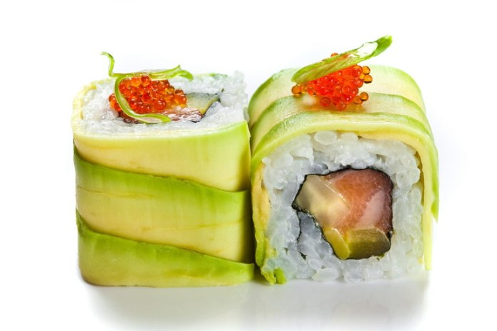 The avocado roll is high in heart-healthy fatty acids and vitamins.