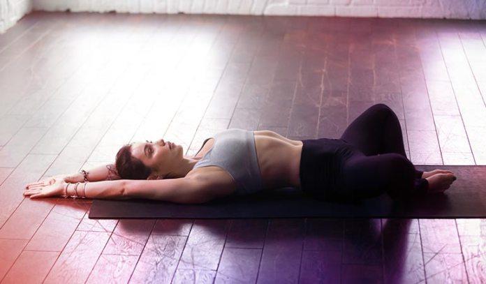 (deeply relaxing restorative yoga pose